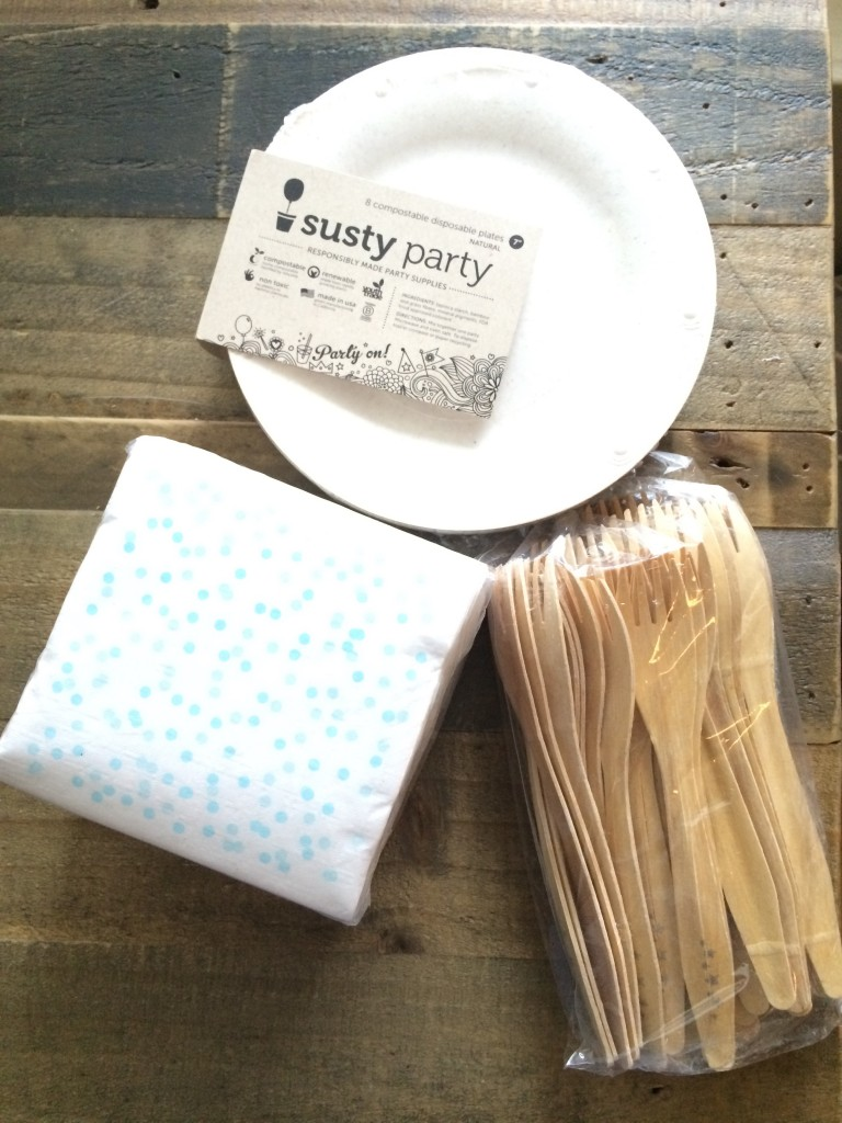 Susty party, compostable, plates, forks knives, cute, wedding, pretty